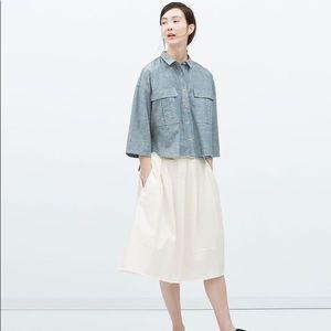 Zara | trafaluc oversized denim chambray shirt XS